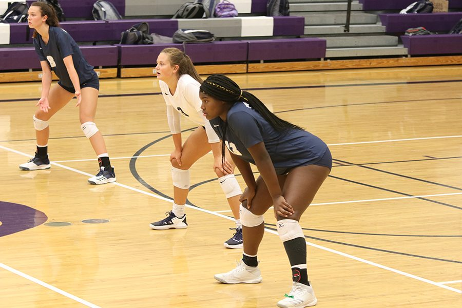 In the back row sophomore Amara Traiger, junior Jaden Ravnsborg, and sophomore Tayler Roberts prepare to receive the serve.