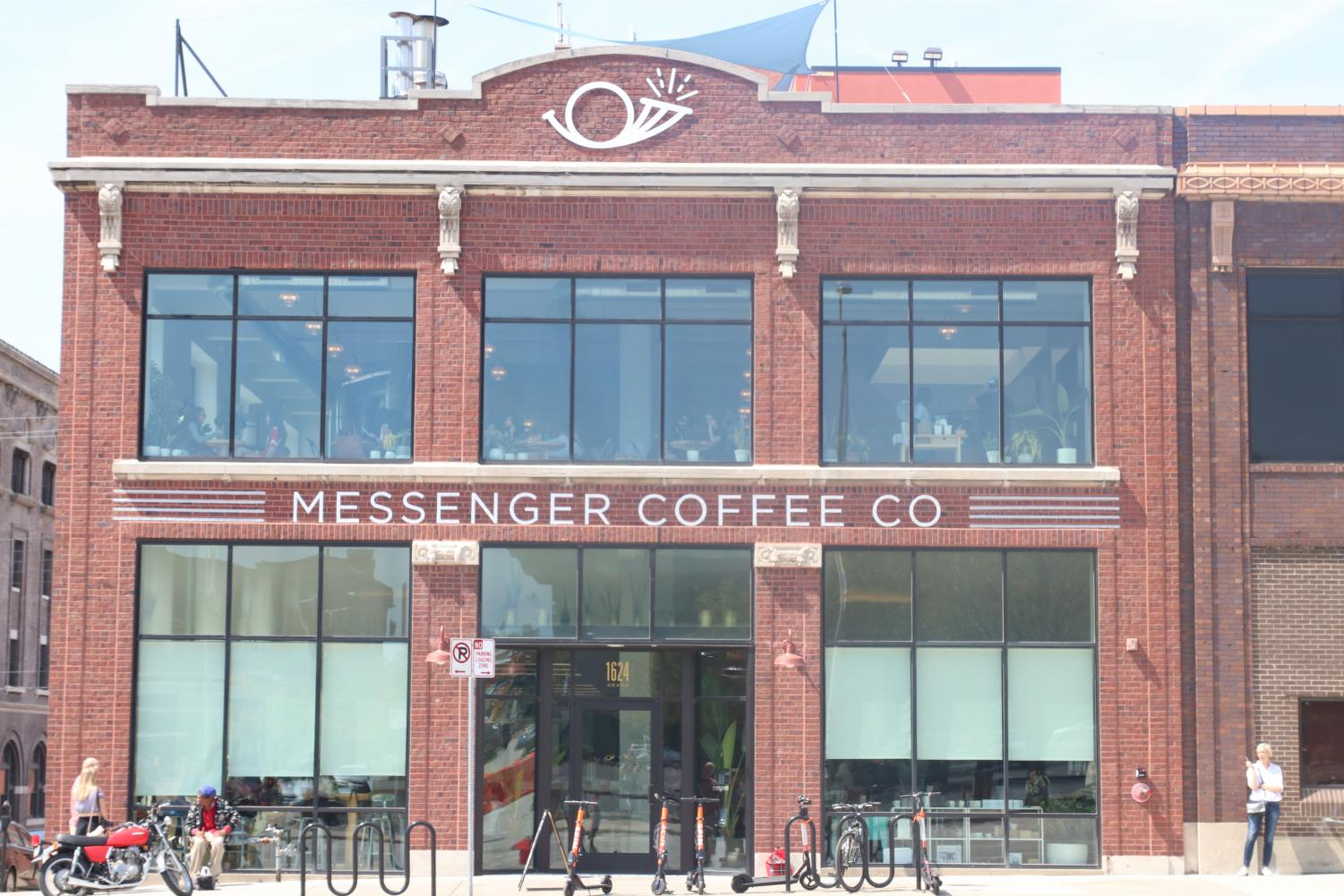 Messenger Coffee Company is popular place to hangout. It is located at 1624 Grand Blvd, Kansas City, MO 64108