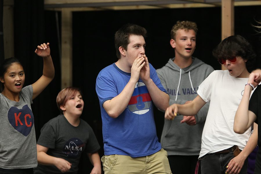 "At rehearsal on Monday, Sept. 30, senior Nathan Meacham practices a dance for the school's upcoming musical, ""Newsies."""