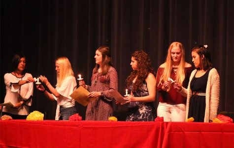 During the Spanish NHS induction ceremony Wednesday Oct. 16, new and returning members lit candles for the initiation.