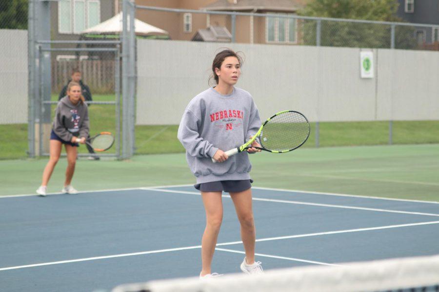Keeping her focus, sophomore Eden Schanker prepares to hit the ball.