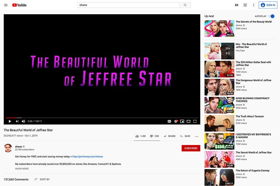 YouTuber+Shane+Dawson+released+part+one+of+his+new+series+%22The+Beautiful+World+of+Jeffree+Star%22+on+Tuesday%2C+Oct.+1.