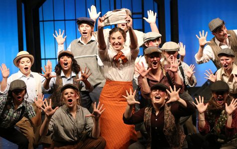 "Students get ready for their production of ""Newsies"""