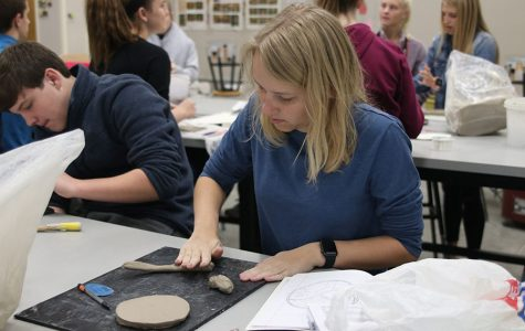 "Ceramics classes start their ""One-Word Tile"" project"