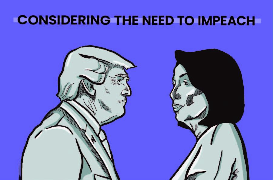 JagWire staffers take sides on the impeachment inquiry, representing the opposing stances of Donald Trump and Nancy Pelosi.