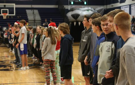Students lined the gym to be recognised for making it on the Honor Roll. Students whose GPAs exceeded 3.7 had the opportunity to be recognized at the basketball game Friday, Dec. 6.