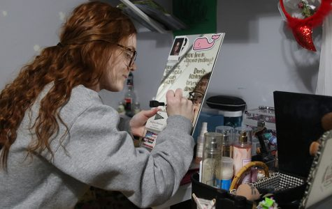 Writing positive affirmations on her mirror helps senior Megan Sherman counter the negative thoughts she sometimes has about her body.