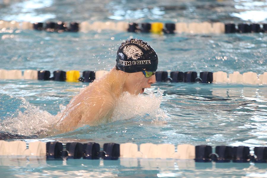 Freshman Adam Budimlija swims the breaststroke portion of the 200-yard medley relay.