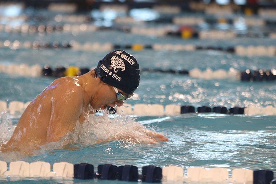Swimming the breaststroke portion of the 200-yard medley relay, junior Cole McClure dives back down after a breath.