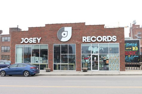 Josey Records is located on Oak Street in the Crossroads District of Kansas City Missouri.
