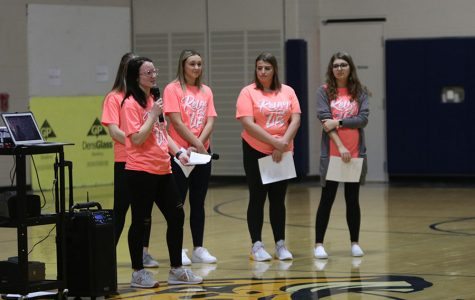 At the beginning of the rally, senior Relay For Life chairs address the crowd, starting with senior Abbie Morgan.