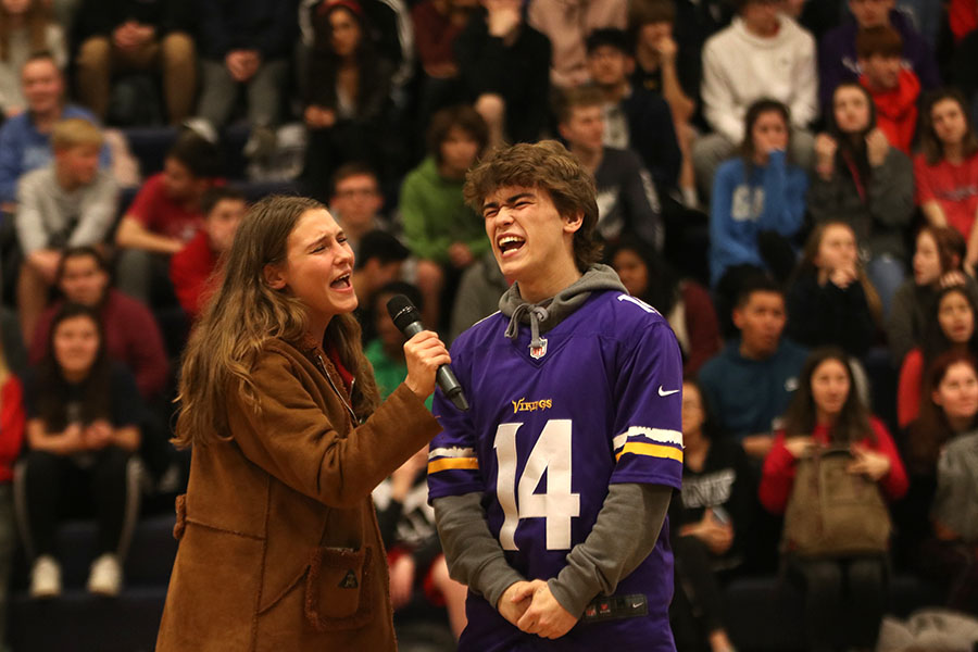 "Eyes closed, seniors Avery Altman and Jake Esser belt out the lyrics to ""Bohemian Rhapsody"" by Queen."