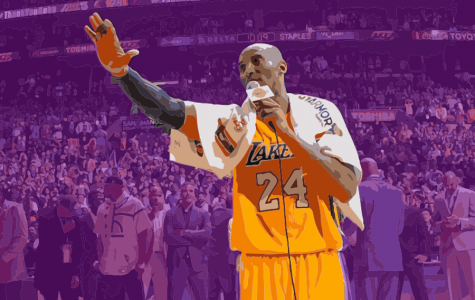 Kobe Bryant, shown speaking to the Staples Center crowd before his final game, inspired a generation of basketball fans.