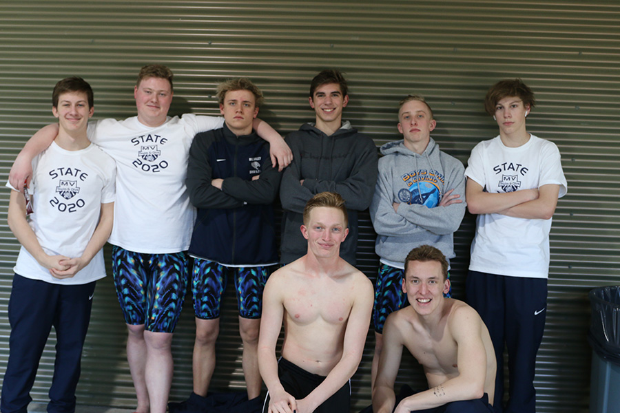 The boys swim team competed in the state meet where they placed 9th overall as a team.