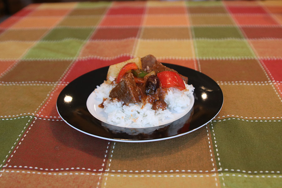 Kaldereta is a traditional stew made in the Philippines consisting of meats and vegetables.