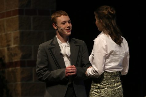 "Juniors Brett Blackburn and Sophie Hannam perform in the first Repertory Theater play, ""The Importance of Being Earnest."" On Thursday Feb. 6, the Repertory Theater class performed two one-act plays."