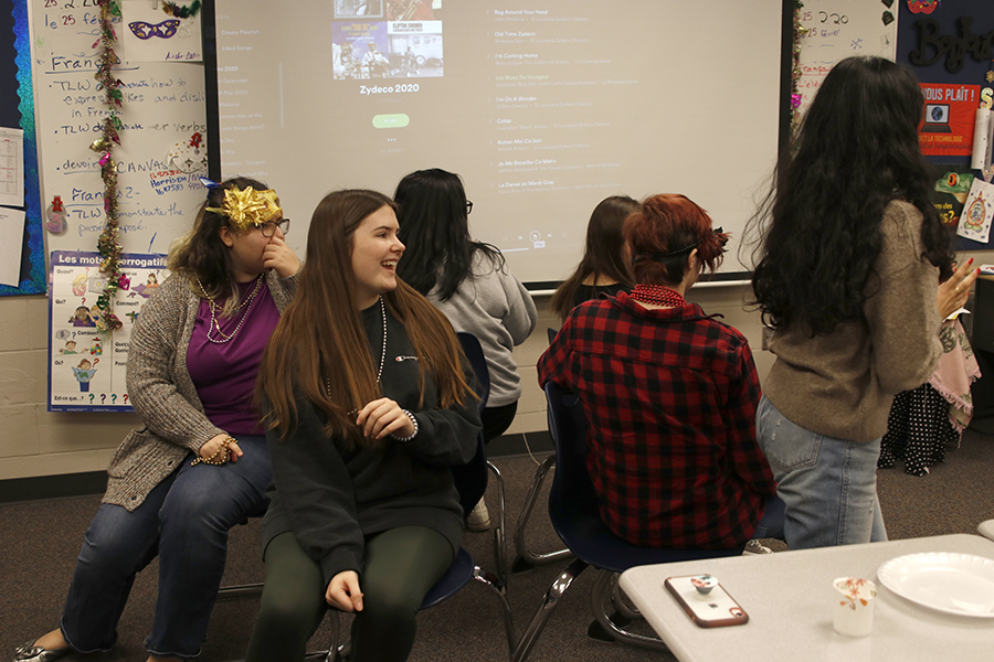 During their celebration, French III students participated in a game of musical chairs to traditional Mardi Gras Zydeco music.