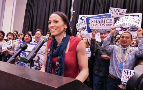 Sharice Davids gives her victory speech after winning the state's 3rd congressional district race on Tuesday, Nov. 6, 2018.