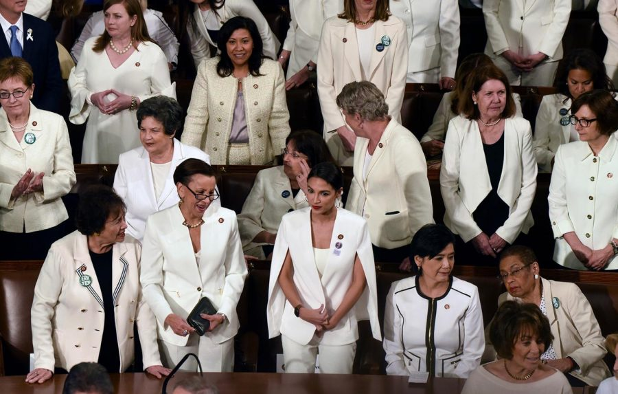 House Democratic women are dressed in white for President Trump's State of the Union address to a joint session of Congress on Capitol Hill in Washington, D.C., on Tuesday, Feb. 5, 2019.