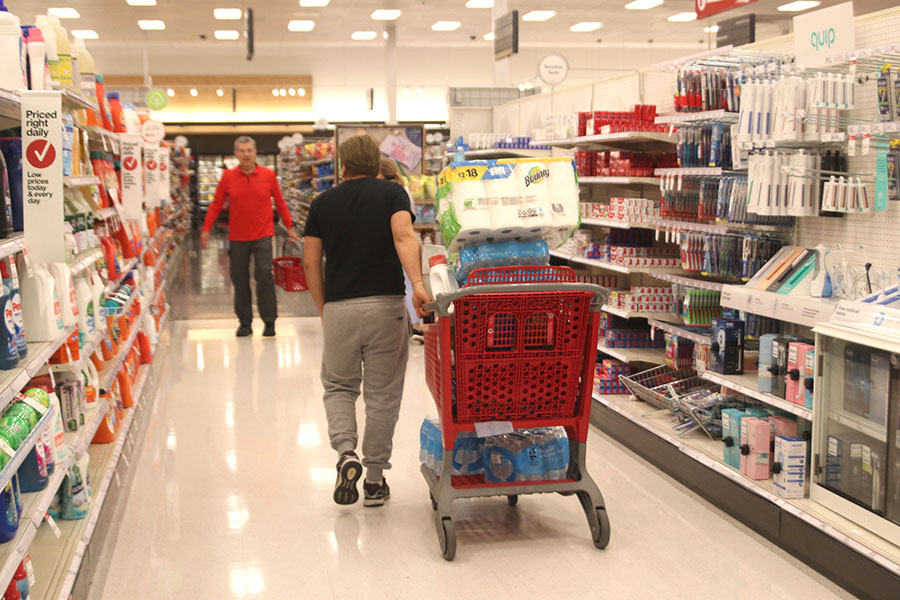 Many residents of Shawnee flocked to Target to buy items such as cleaning supplies, water and toilet paper after the World Health Organization declared coronavirus a pandemic.