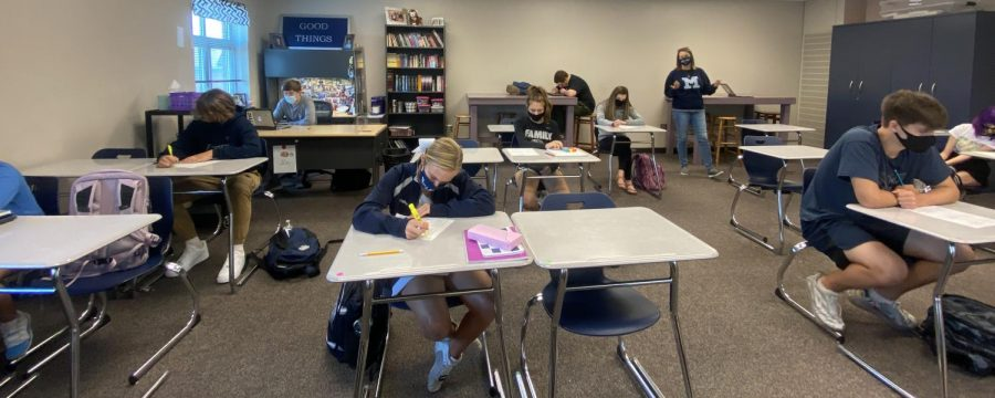 English teacher Ashley Agre's students work on classwork.