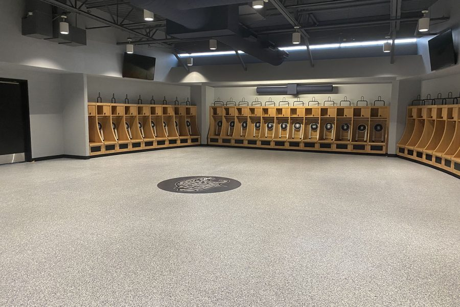 In the new field house, the varsity football locker room is very open.