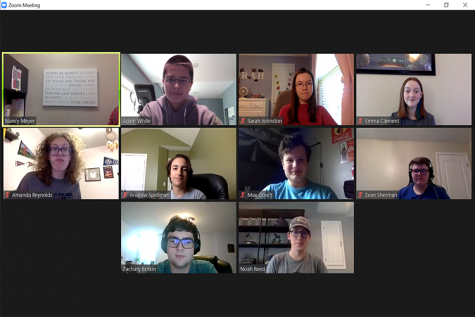 Due to COVID-19, the debate team gathers via Zoom to rehearse and prepare.