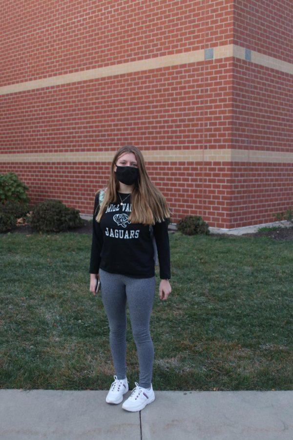 Showing her HOCO spirit in her Mill Valley jaguar shirt is freshman Audrey Holick.