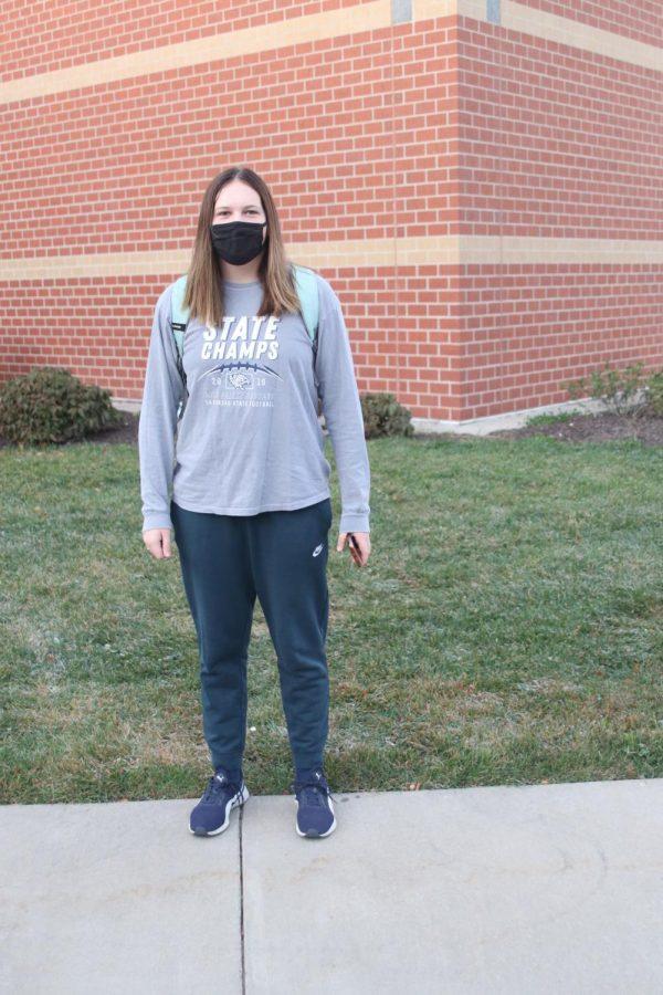Pictured outside of Mill Valley in her spirit wear is junior Katie Bonnstetter.