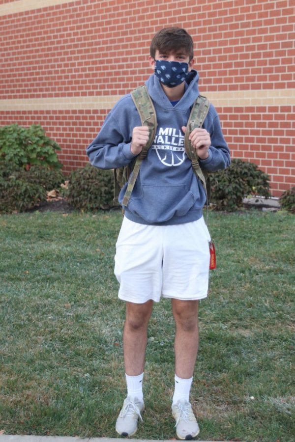 Pictured in his Mill Valley mask and soccer hoodie is junior Nick Brubeck.
