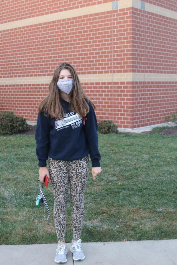 Posed outside of Mill Valley is senior Alexis Claeys in her spirit wear.