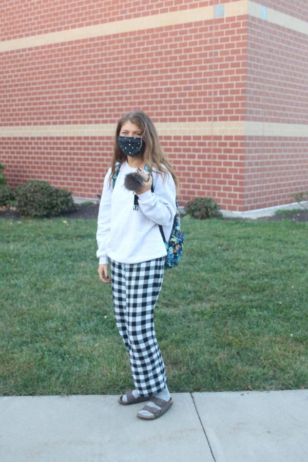 Posed in her fluffy pajamas is senior Addison Stover.