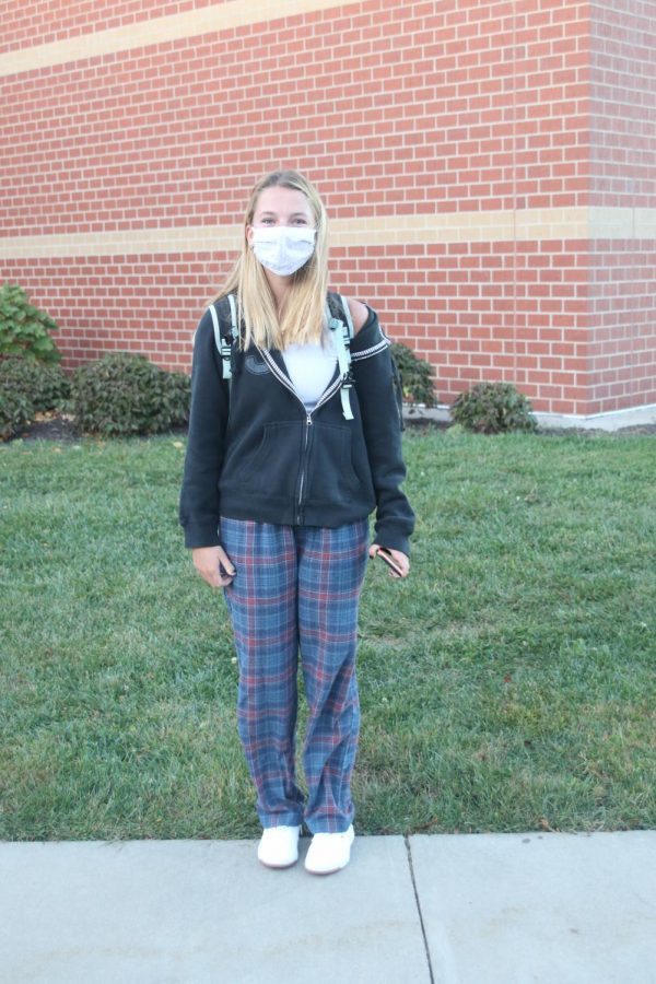 Pictured in her plaid PJs is sophomore Emma Nentwig in her homecoming spirit wear.