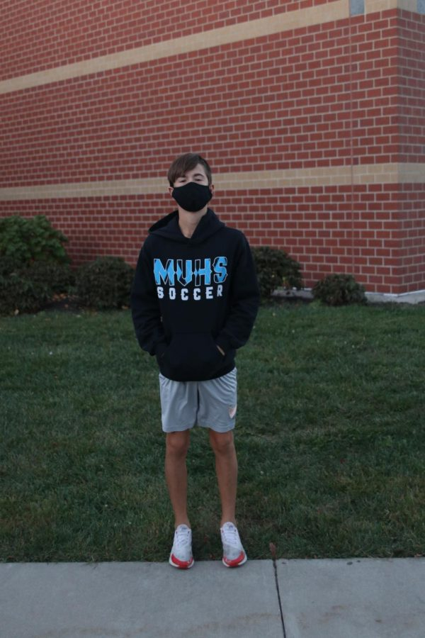 Pictured outside of Mill Valley is sophomore Codey Geis in his Mill Valley soccer spirit wear.
