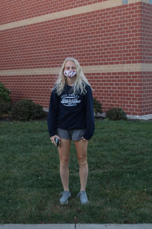 Repping her state championship sweatshirt is junior Anna Roberts.