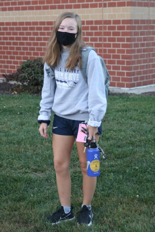 Outside Mill Valley is Alexis Shults in her Mill Valley swim and dive sweatshirt.