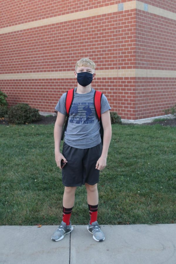 Ready to show his HOCO spirit, freshman Cooper Line shows off his MV spirit wear.