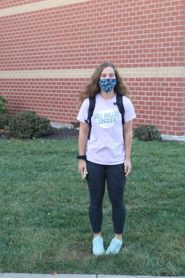 Pictured is senior Avery Norman showing her spirit in her MV soccer shirt.