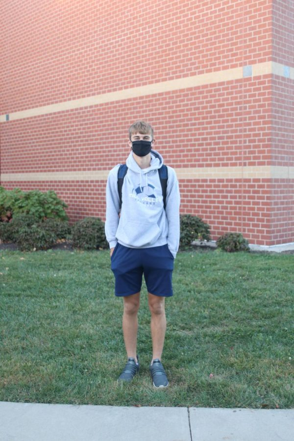 Outside Mill Valley is junior Garrison Shrag in his MV spirit wear.
