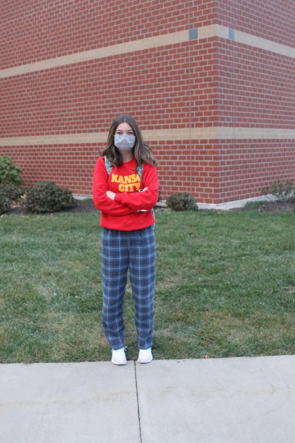 Bringing her MV spirit to school in her PJs sophomore Grace Brookshire poses outside MV.