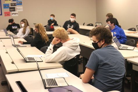 During Sports and Entertainment marketing, students watch a presentation and take guided notes while wearing masks and maintaining social distancing on Thursday, Oct 1.