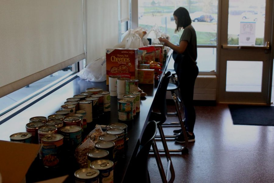 During a National Honors Society organized food drive, member junior Grace Emerson counted food collected through the drive on Thursday, Nov. 19.