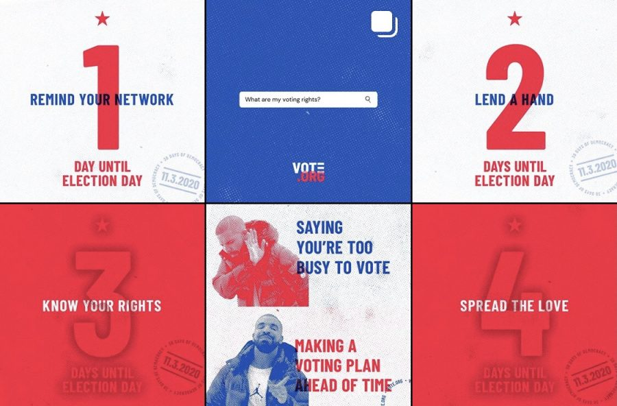 Social media has played a heavy role in educating millions of voters in the 2020 elections. From information about different ballots to the voter registration process, people have utilized social media to encourage citizens to vote.   Photo is a screenshot of vote.org's (@votedotorg) Instagram page.