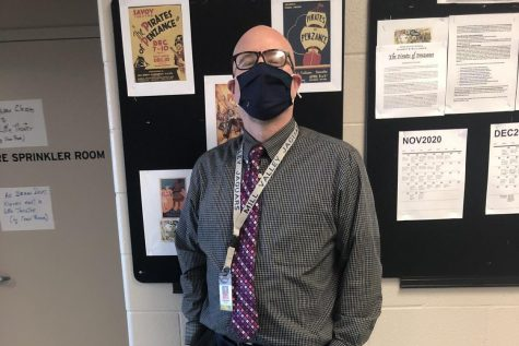 Drama teacher Jon Copeland stands outside of his classroom for a picture. The COVID-19 restrictions are taking a toll in the theatre department with social distancing guidelines forcing his classes to be less hands-on than usual this year.