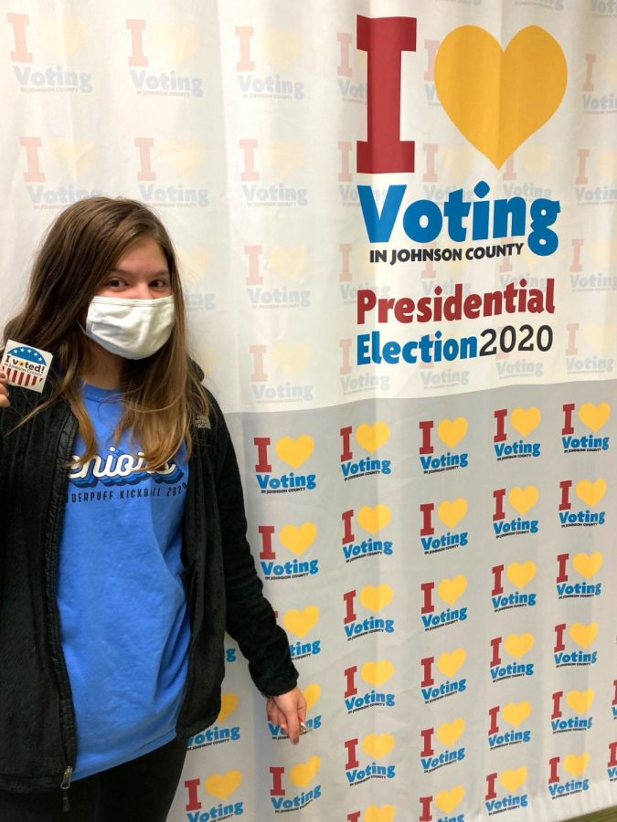 It was Lexi Clayes first time voting, and she has the sticker to prove it!