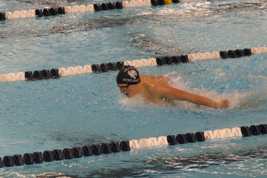 Gasping for a quick breath of air, sophomore Anthony Molinaro competes in the 100-yard butterfly.