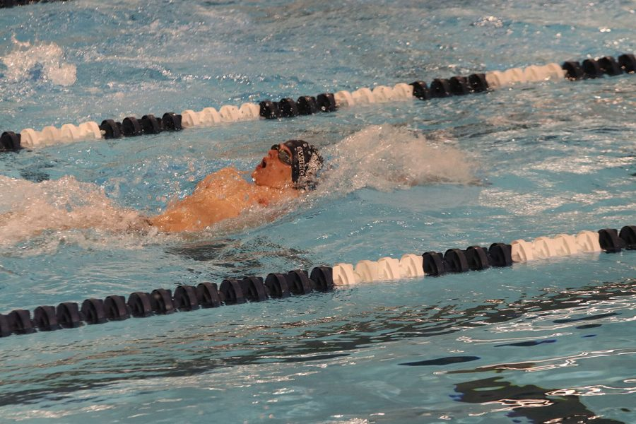 Competing in the 100-yard backstroke, junior Noah Collins swiftly swims past his competitors.