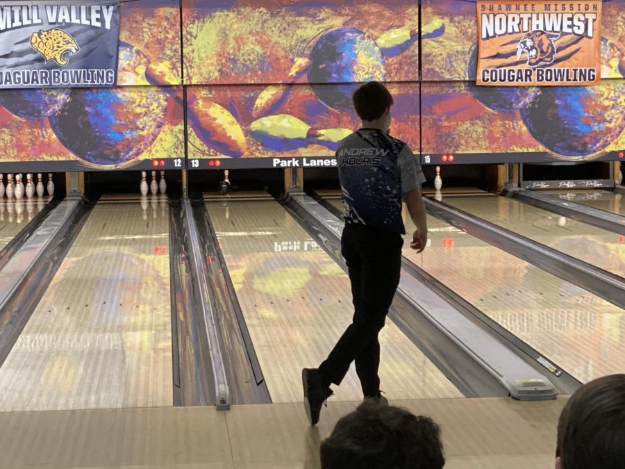 Still in throwing pose, freshman Andrew Kouris was able to hits the last pin standing, securing a spare.