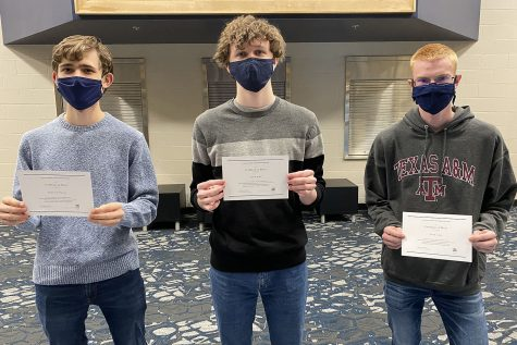 Seniors Ben Wieland, John Fraka and John Lehan were recognized Wednesday, Feb. 11 as National Merit  Finalists.