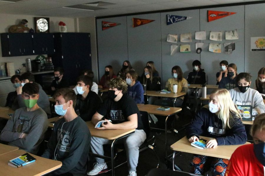 Many classes such as that of Mrs. Anderson's senior English class have no choice but to seat students inches from one another.